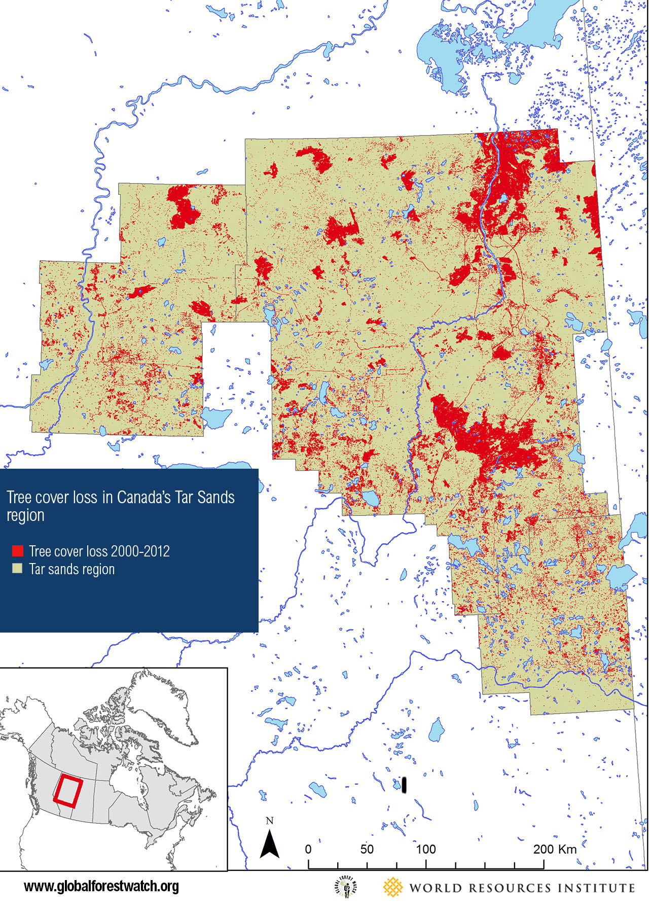 <p>MAP A: Tree cover loss of 775,500 hectares in Canada's Tar Sands region 2000-2012</p>