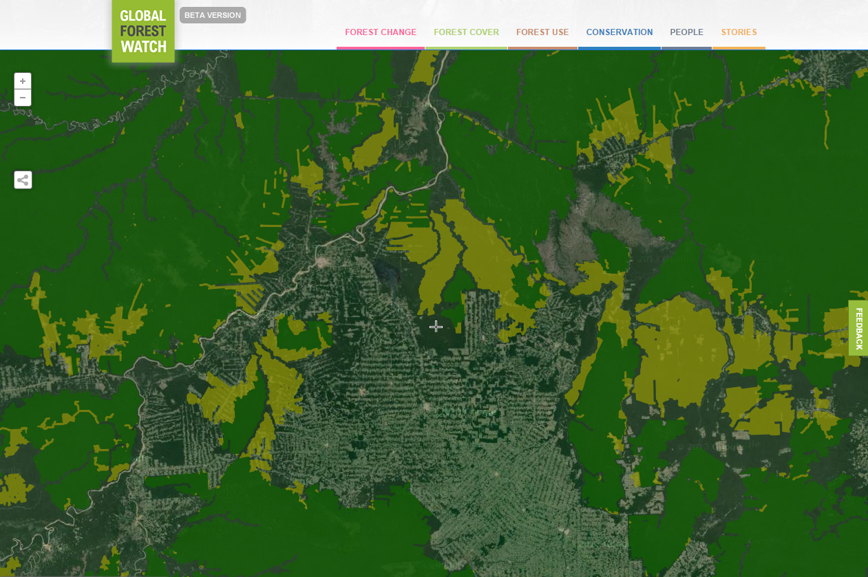 <p>Satellite imagery reveals extensive road construction in the Brazilian Amazon that results in forest fragmentation leading to degradation (light green) of intact landscapes (dark green). Image via Global Forest Watch</p>