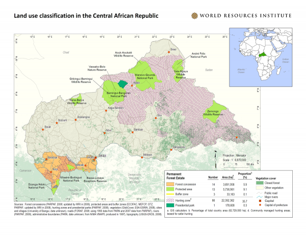 <p>Land Use Classification and Logging Concessions in the Central African Republic</p>
