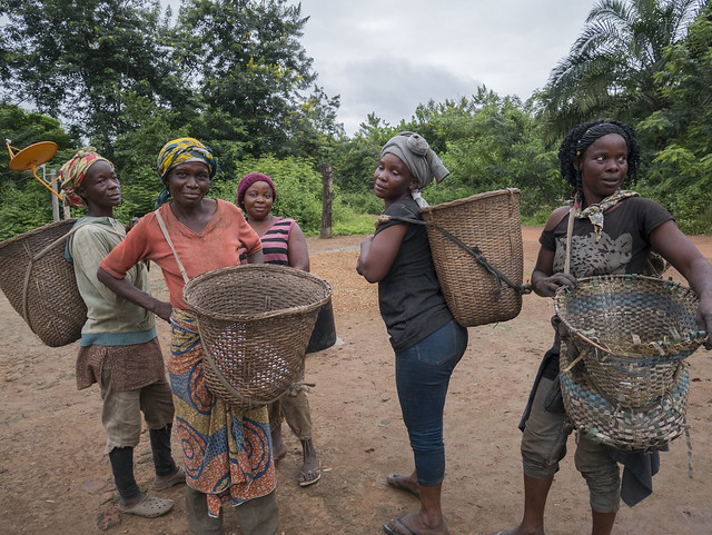 <p>Villagers like these in the Republic of Congo rely on Congo Basin forests for food and livelihoods. Photo by Molly Bergen/WRI</p>