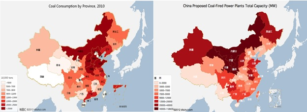 <p>Data sources: 2011 China Energy Statistics Book; WRI Global Coal Risk Assessment</p>