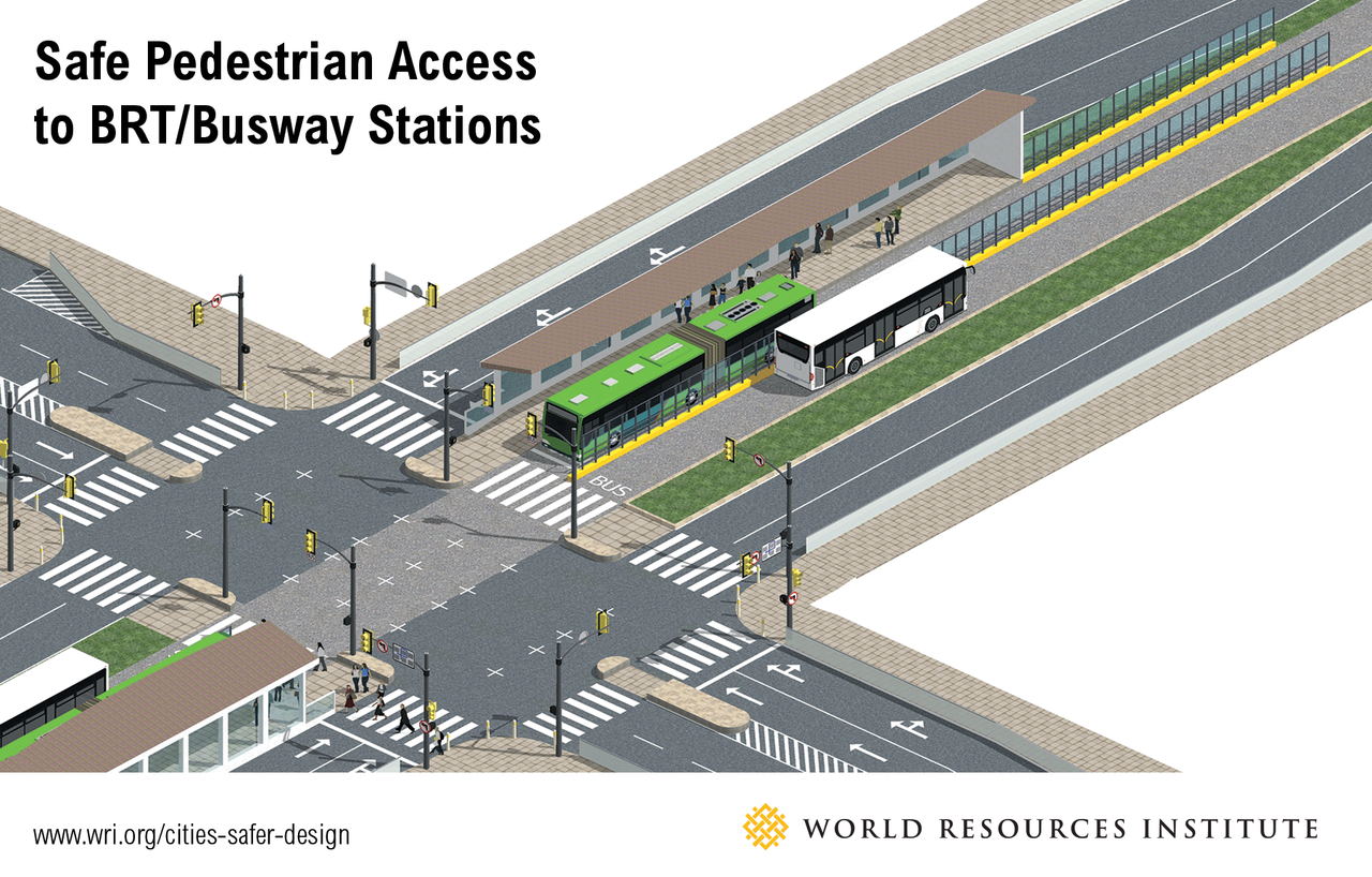 <p>Pedestrian access to a median BRT station.</p>