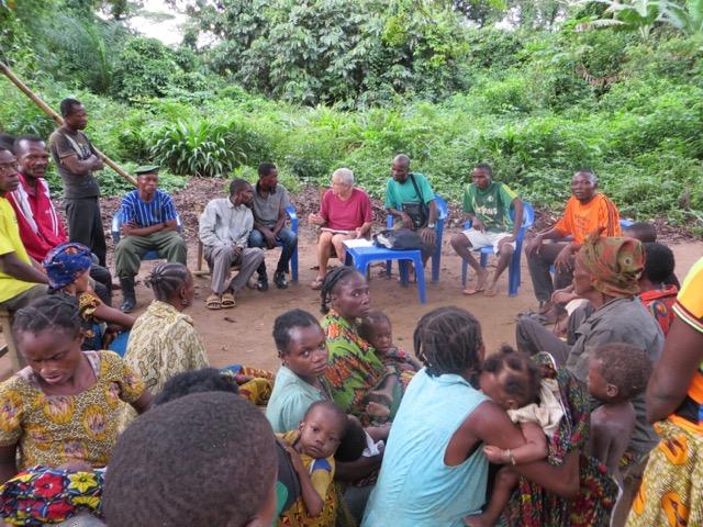 <p><em>Groupe de discussion sur les droits et responsabilités communautaires dans la Réserve Lomako, province de Tshuapa. Photo de Theo Way Nana</em></p>