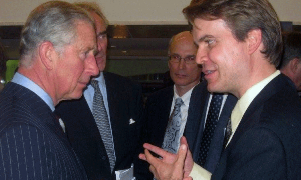 <p>The Prince of Wales and Craig Hanson, Director of WRI\'s People and Ecosystems Program, discuss degraded land. Photo credit: Moray McLeish</p>