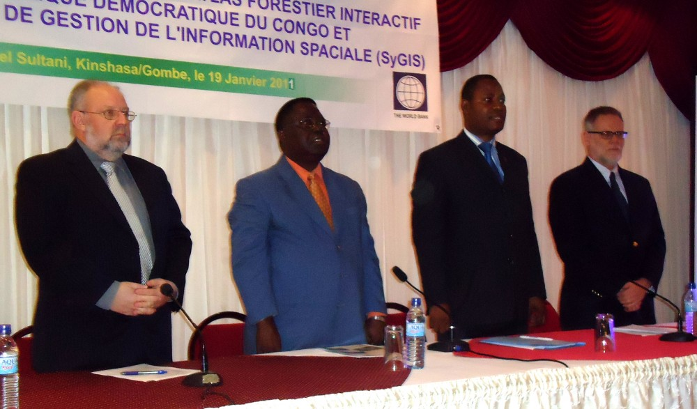 <p>Stephen Haykin, two representatives from the Ministry of Environment, Nature Conservation, and Tourism, and Pierre Methot at the Atlas launch in Kinshasa.</p>