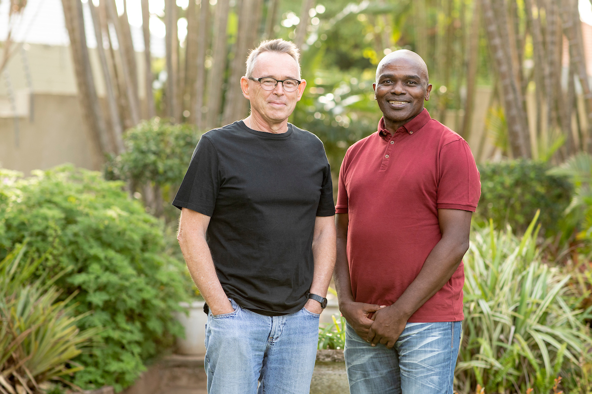 <p>Asiye eTafuleni co-founders Richard Dobson and Patric Ndlovu. Photo by Kyle Laferriere</p>