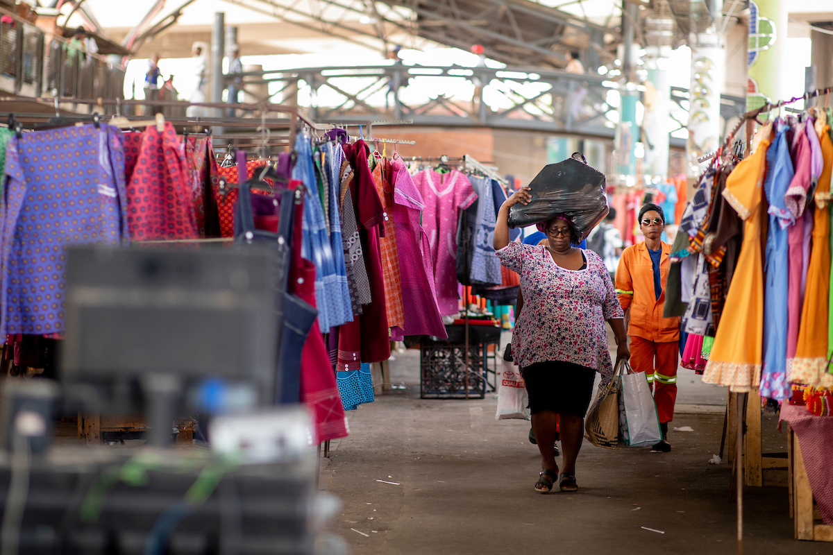 <p>Nearly half a million shoppers pass through Durban\'s Warwick Junction marketplace every day. Photo by Kyle Laferriere</p>