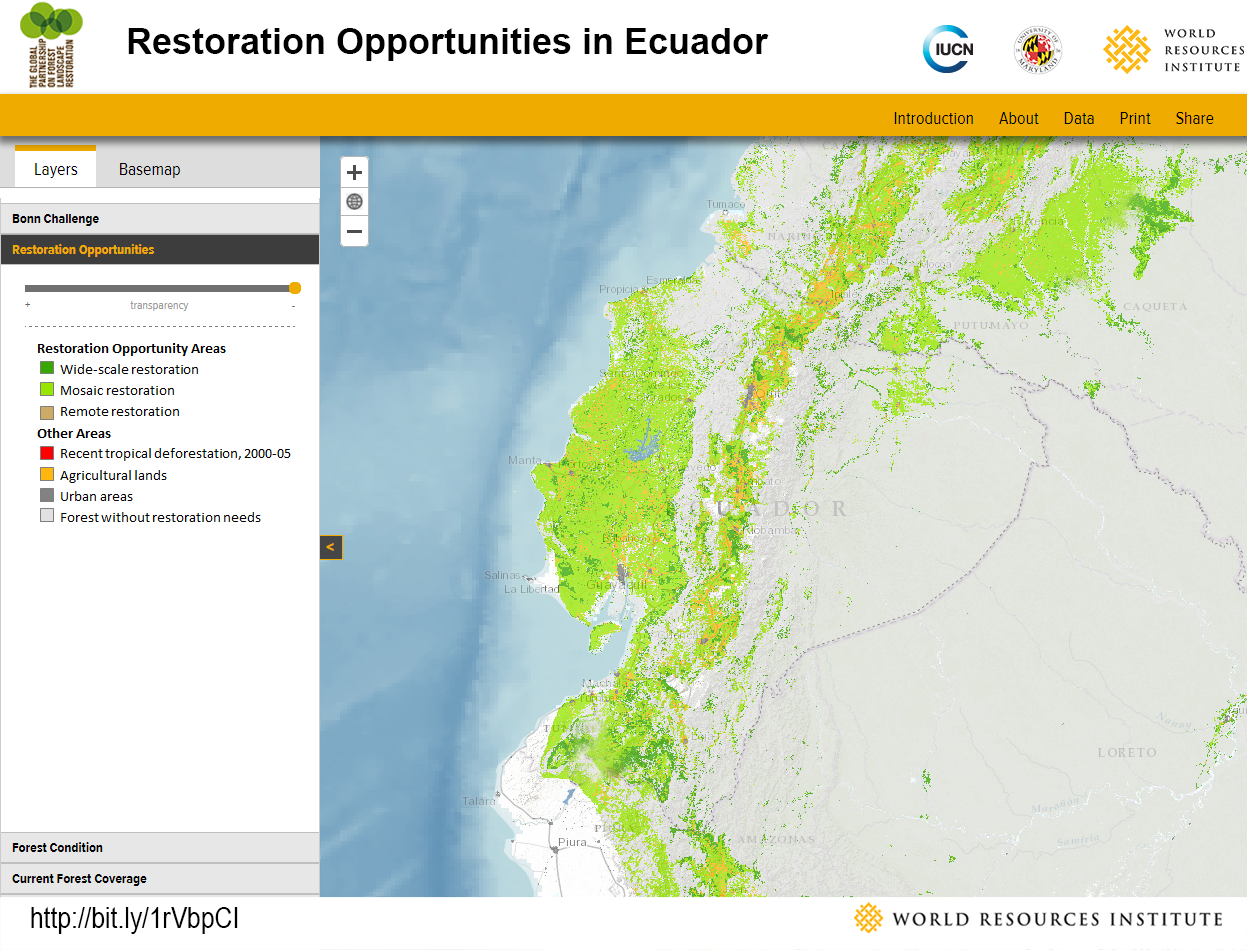 <p>Ecuador has about 7 million hectares of degraded land with the potential to be restored, mostly to mosaic landscapes along the coast.</p>