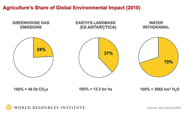 <p>In 2010, agriculture accounted for 24 percent of global greenhouse gas emissions, 37 percent of the Earth's landmass, and 70 percent of water withdrawals. Graphic by World Resources Institute.</p>