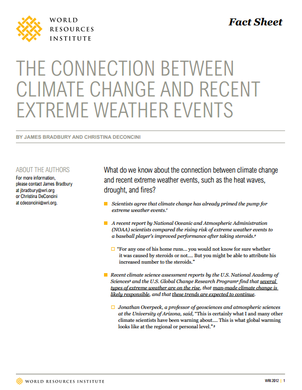 <p>Download WRI\'s fact sheet, <em>The Connection Between Climate Change and Recent Extreme Weather Events</em></p>