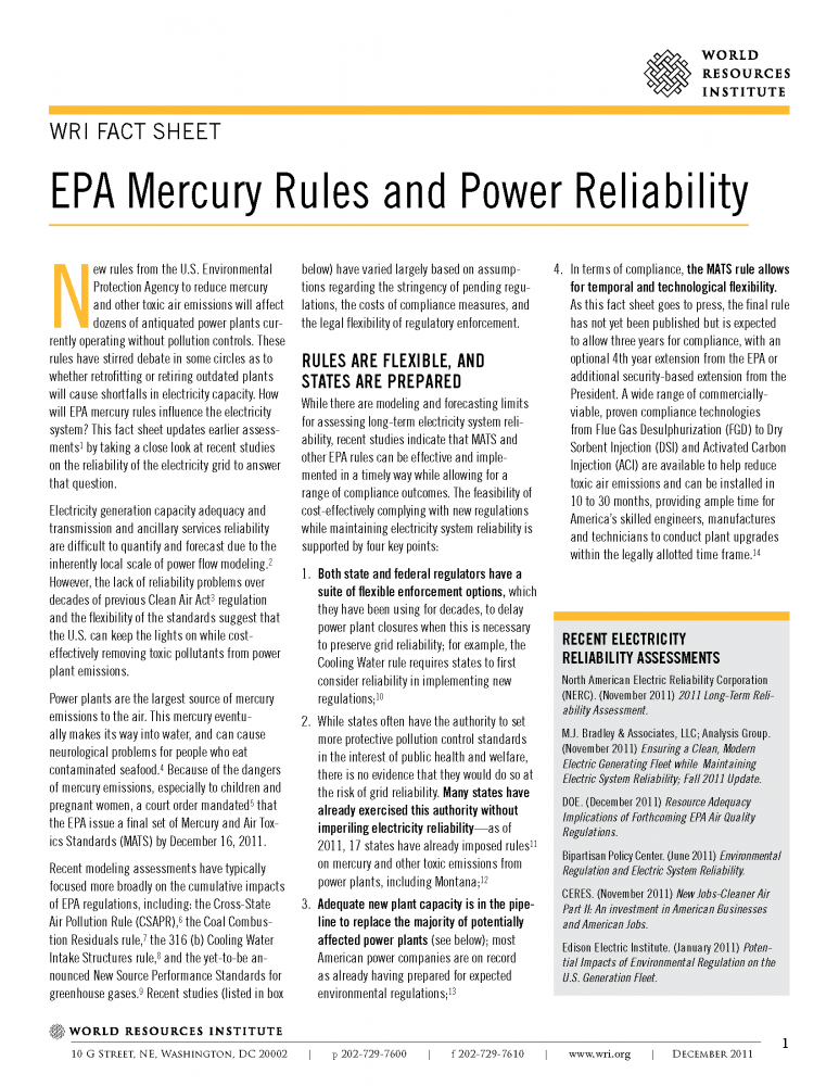<p>Read WRI\'s latest fact sheet on the EPA\'s mercury rules</p>