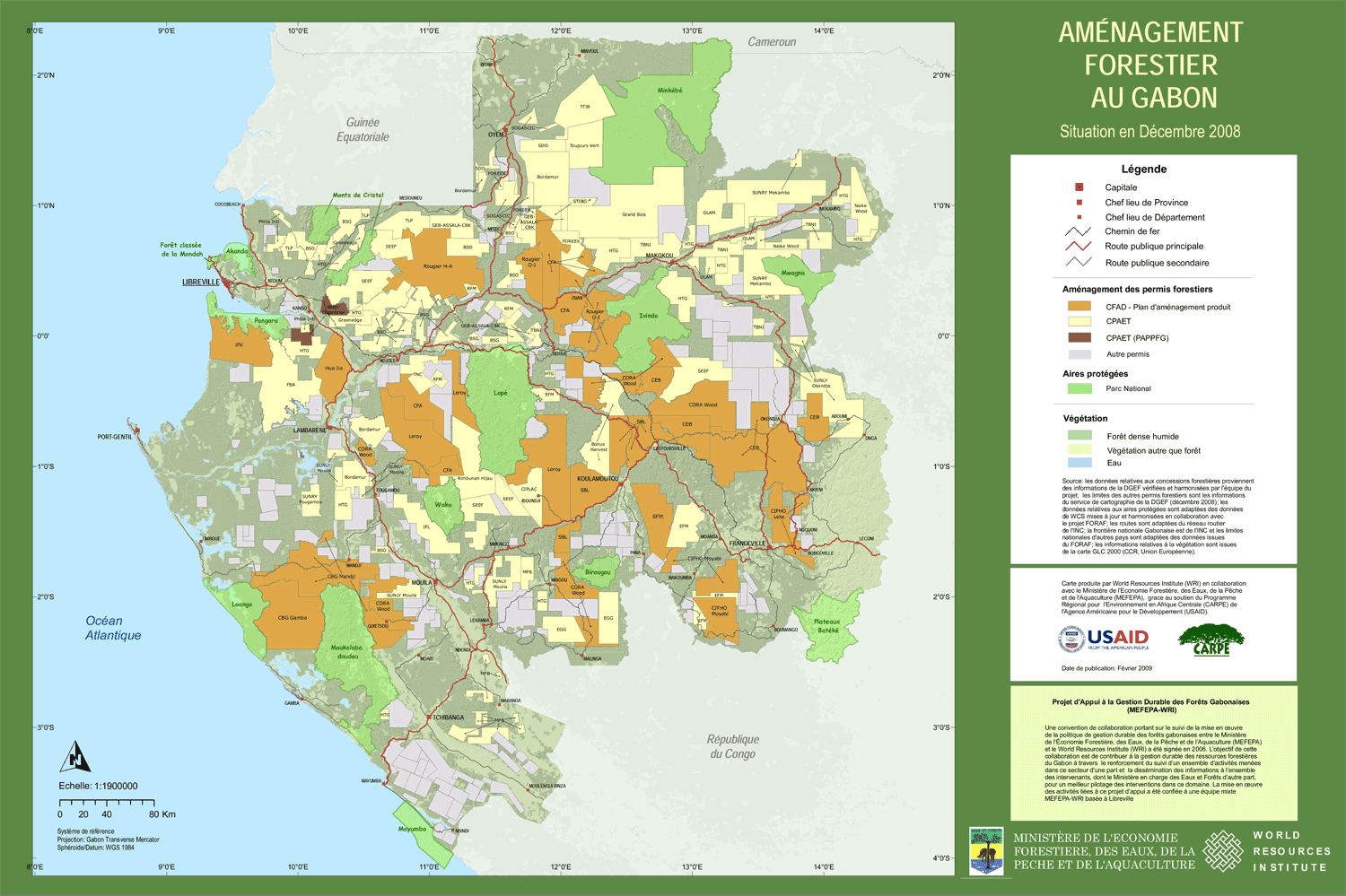 <p><strong>Forest Management in Gabon:</strong> As the official poster for the Gabon Interactive Atlas project, this map provides an overview of current logging titles and protected areas in Gabon as of December 2008.</p>
