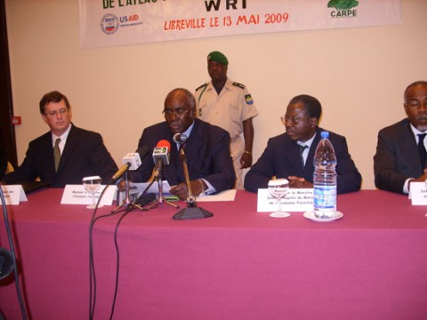 <p>S.E. Emile Doumba (second from left) speaking during the launch of the first Interactive Forest Atlas of Gabon in Libreville. (May 13, 2009)</p>