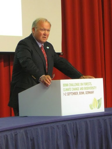 <p>Dr. Göran Persson announces the Global Restoration Council at the Ministerial Roundtable in Bonn on September 2. Photo: WRI</p>
