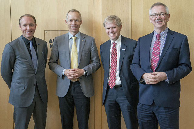<p>Left to right: Photographer Mattias Klum, professor Johan Rockström, ambassador Björn Lyrvall and Dr. Andrew Steer, President & CEO, World Resources Institute. Photo credit: Embassy of Sweden</p>