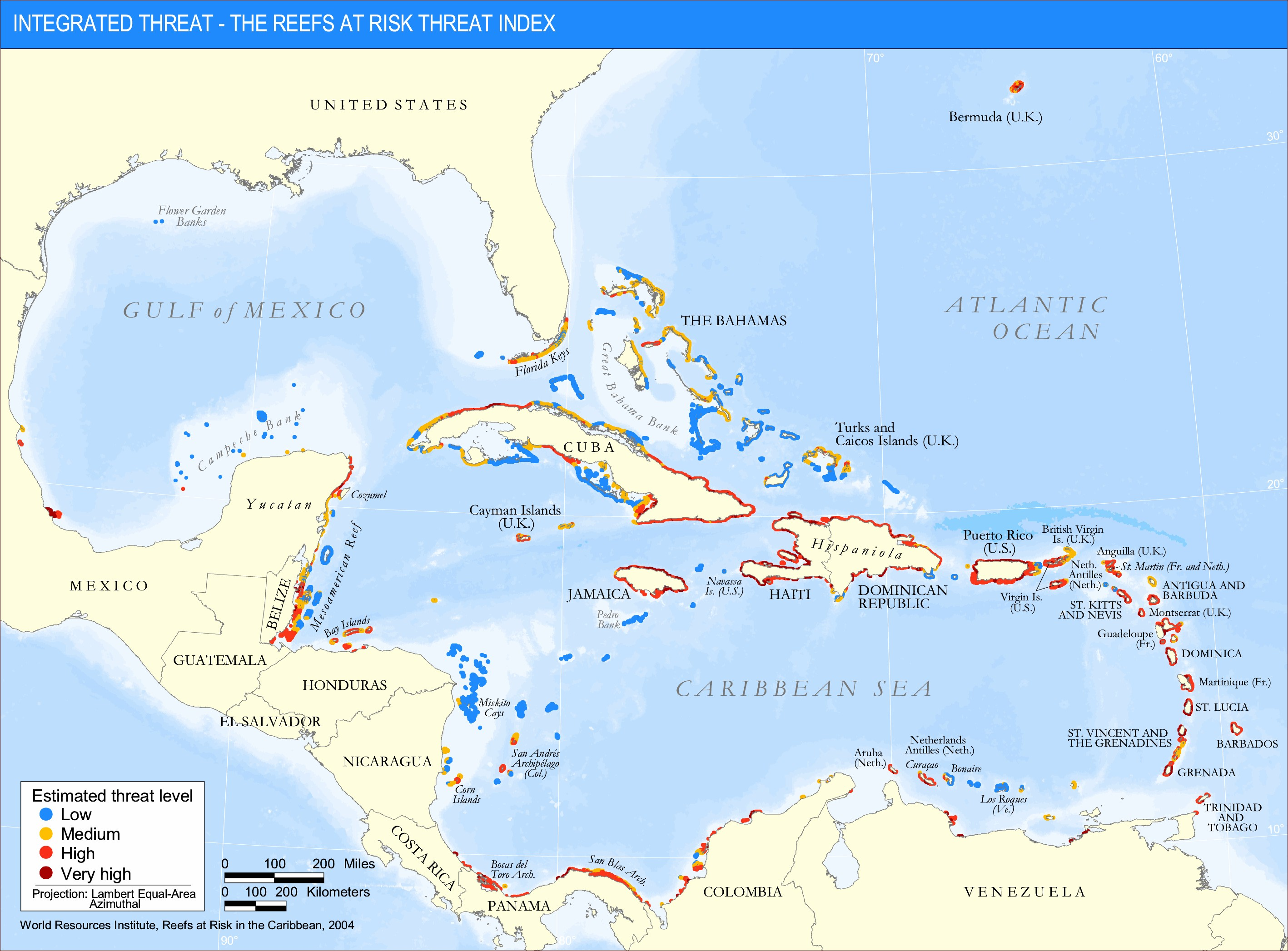 <p>Integrated Threat: The Reefs at Risk Threat Index</p>
