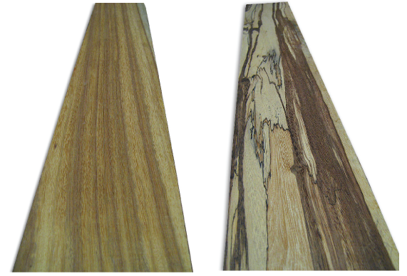 <p>A plank of tigrillo (<em>Swartzia arborescens</em>) on the left and of tigre caspi (<em>Zygia cataractae</em>) on the right. Photos: www.woodworkerssource.com</p>
