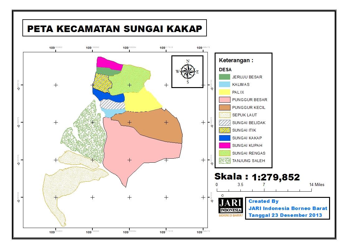 <p>Peta ini menunjukkan batas-batas seluruh desa di Kelurahan Sungai Kakap.</p>