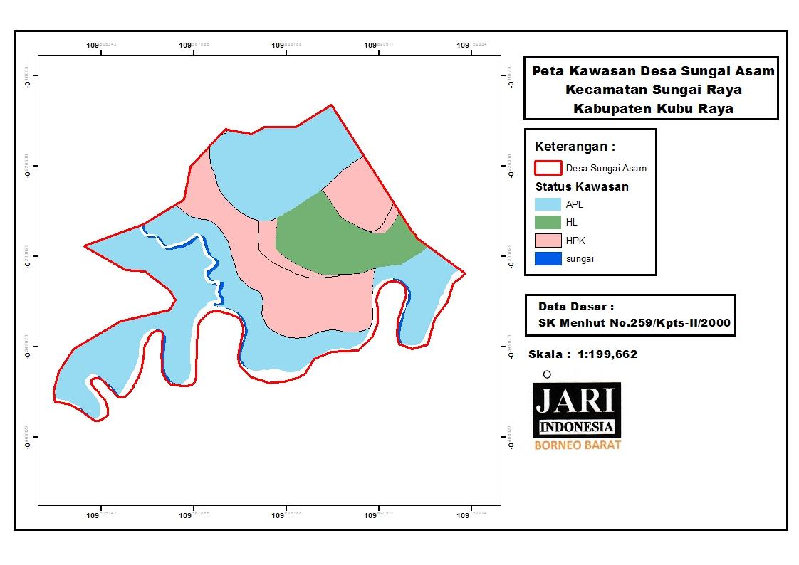 <p>Peta ini menunjukkan status hukum di dalam batas-batas wilayah Desa Singai Asam, dan membantu Hairul untuk menunjukkan banyak ketidakakuratan dalam peta-peta resmi pemerintah.</p>