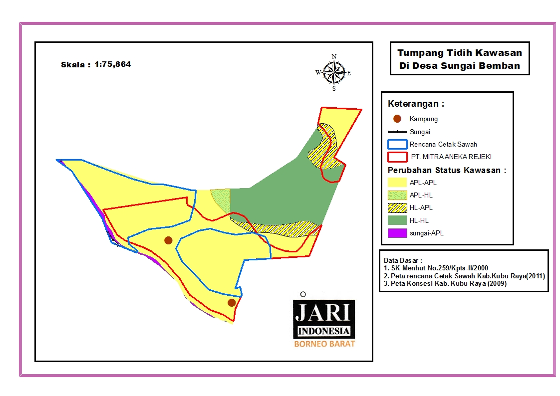 <p>Peta ini menunjukkan batas-batas yang tumpang-tindih di antara lahan pemerintah untuk persawahan dengan konsesi perusahaan yang tengah berlaku di Desa Sungai Bemban, Kabupaten Kubu.</p>