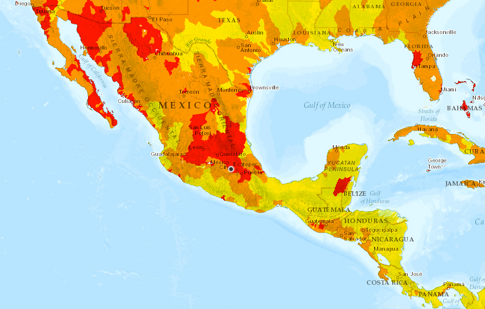 <p>Aqueduct's overall water risk map for Mexico, with Mexico City pinpointed. Red areas indicate regions facing the most severe levels of water risk.</p>