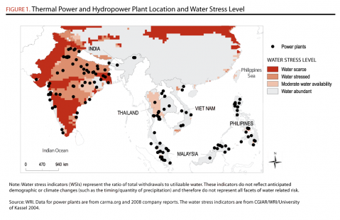 <p>Thermal Power and Hydropower Plant Locations and Water Stress Level</p>
