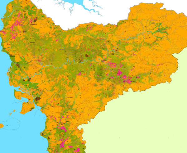 <p>Figure 2. This POTICO map of West Kalimantan identifies areas that have no/low potential (orange), medium potential (green), and high potential (pink) for sustainable oil palm expansion.</p>