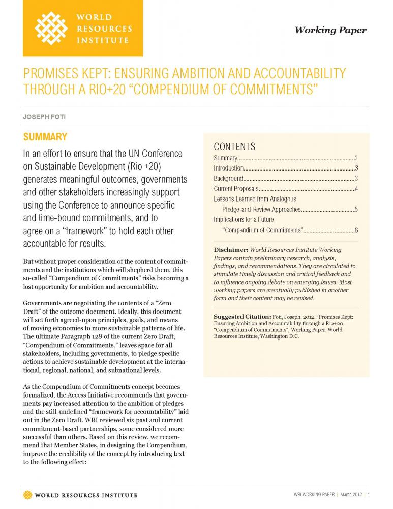 <p>Read WRI\'s working paper on the Compendium of Commitments</p>