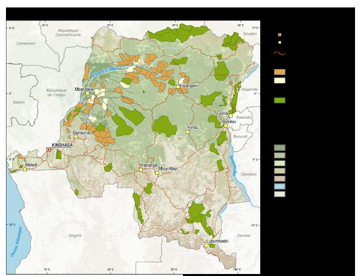<p>La République Démocratique du Congo: Portrait extensif de l'affectation du Domaine Forestier de l'État: This map from the Interactive Forest Atlas shows where forest concessions, protected areas, and geographic features are located throughout the DRC.</p>
