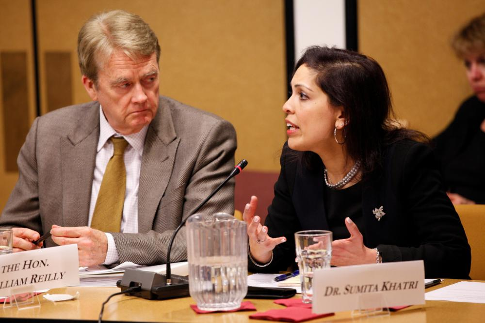 <p>The Honorable William Reilly, former EPA Administrator (1989–1992), and Dr. Sumita Khatri, M.D., M.Sc, Co-Director of the Asthma Center for the Cleveland Clinic. Photo: WRI. See more photos of the event.</p>