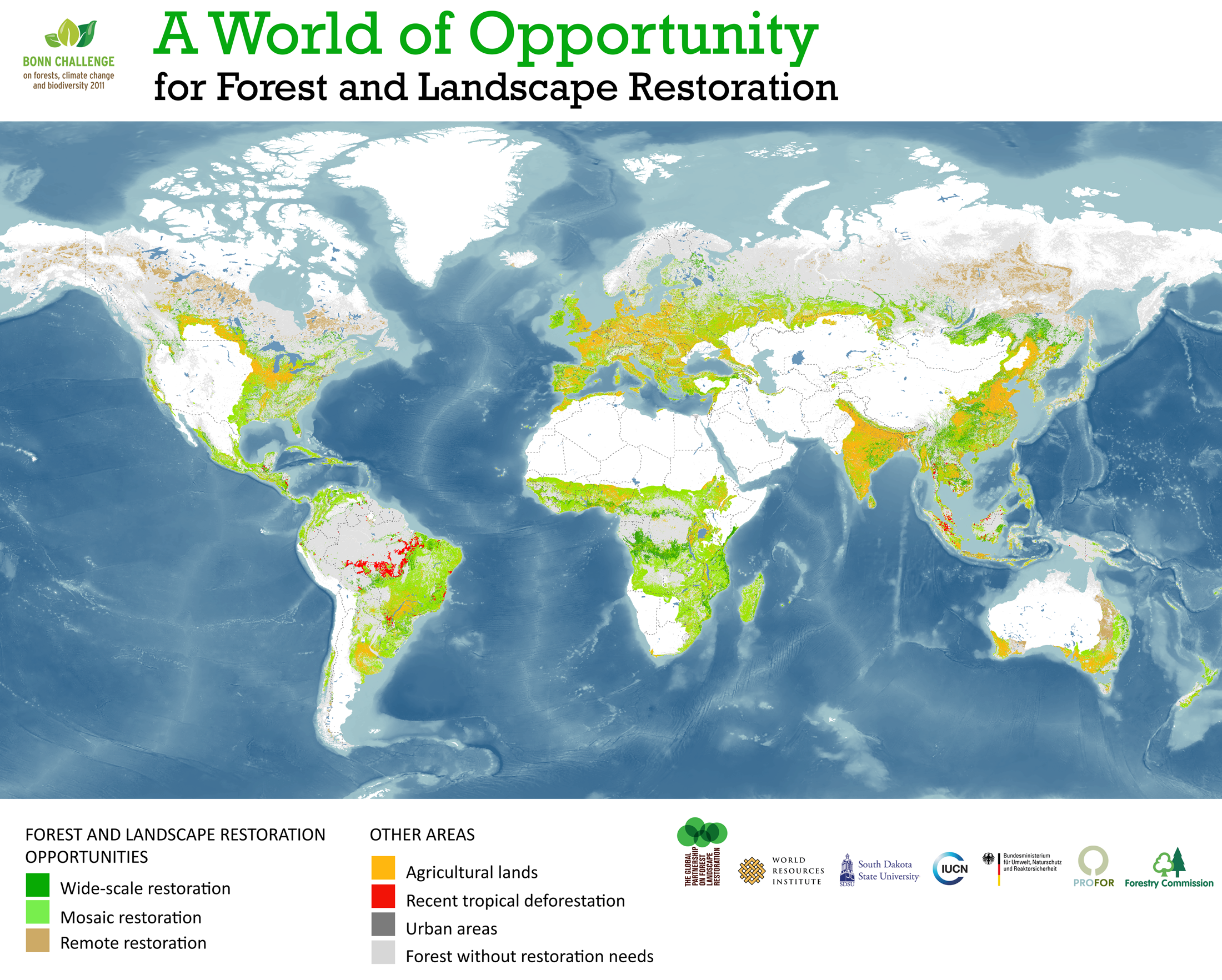 <p>WRI identified 2 billion hectares of degraded land that offer opportunities for restoration. Some of these areas overlap with bamboo growing areas. Click on the map to view a larger version.</p>