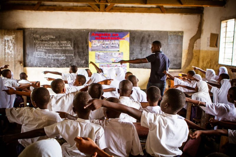 <p>SARSAI makes infrastructure improvements at strategic locations around schools, but they also work directly with students to teach safe behavior. Photo by Edward Echwalu/Amend</p>