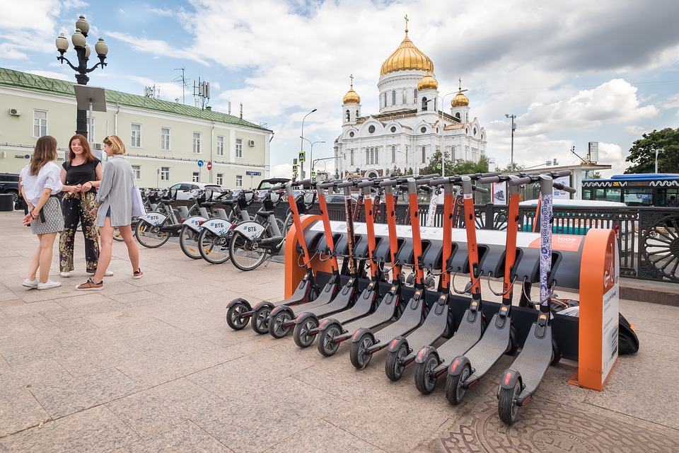 <p>Shared scooters in Moscow, Russia. Photo by MaxPixel</p>