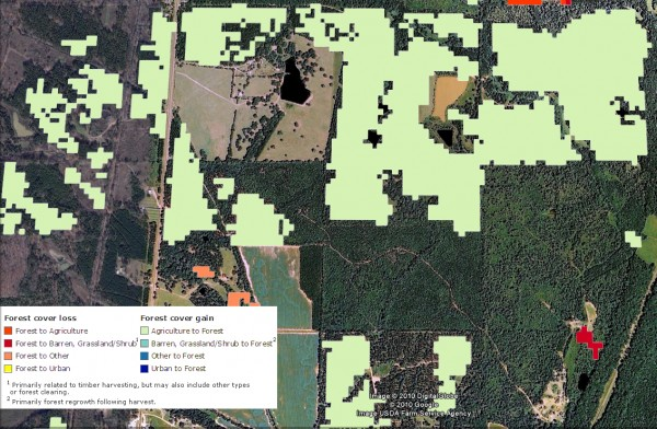 <p>Forest Cover Gain/Loss. In this sample map from Mississippi, the light green color indicates agricultural land that has reverted back to forest.</p>
