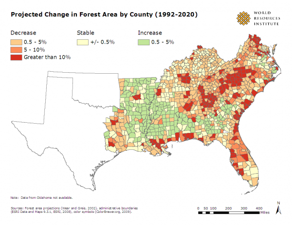 <p>Project Change in Forest Area by County, (1992-2020)</p>