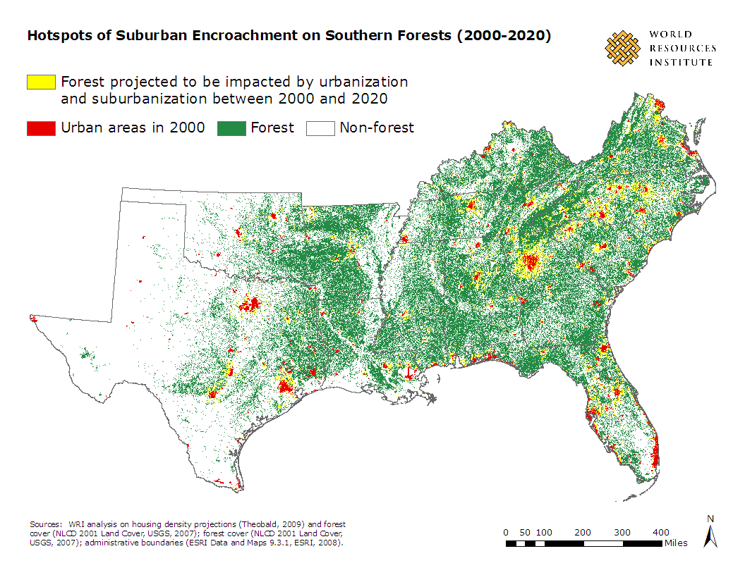<p>Hotspots of Urban Encroachment on Southern Forests (2000-2020) (click for larger view)</p>