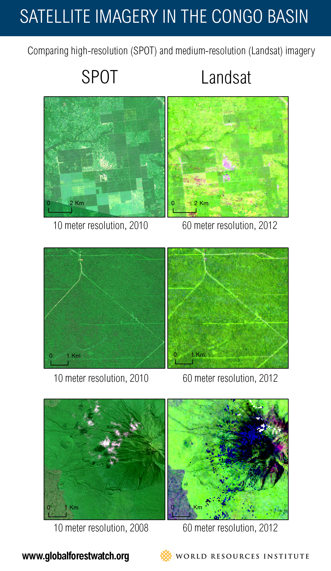<p>Landsat images are a composite of cloud-free Landsat 7 images, circa 2012. | Sources: SPOT, Landsat 7</p>