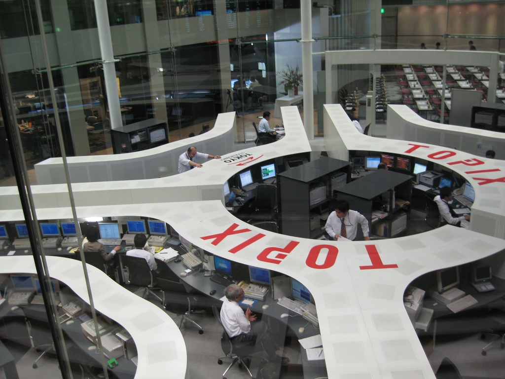 <p>Tokyo Stock Exchange. Photo by tanaciousme/Flickr</p>