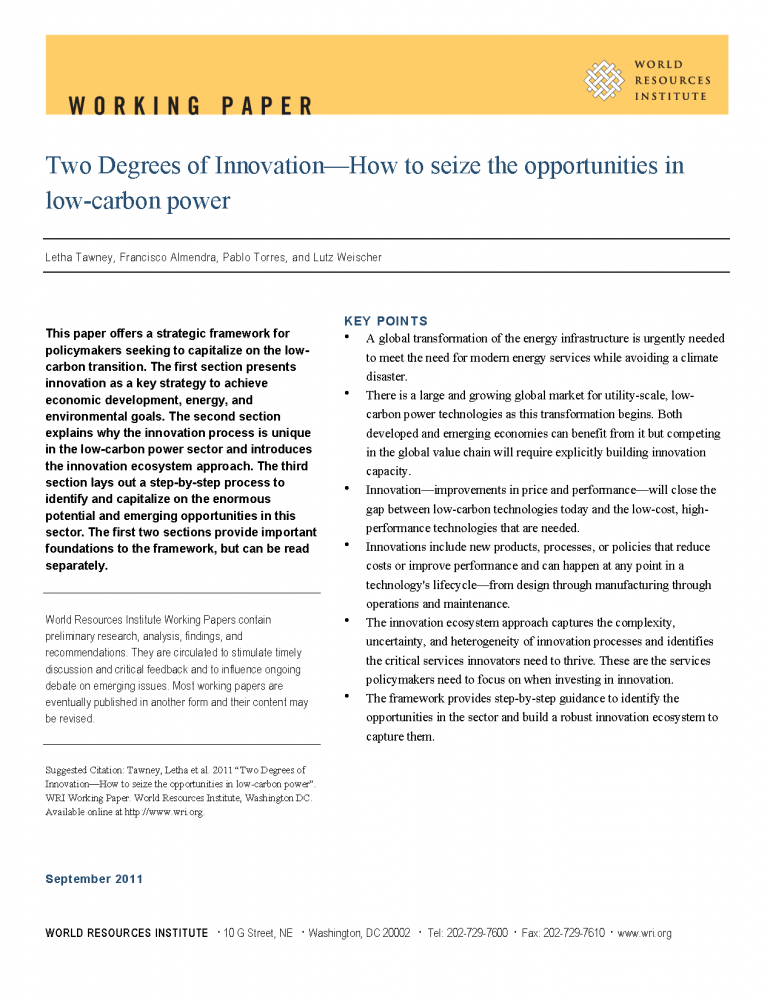 <p>Read the Working Paper <em>Two Degrees of Innovation—How to Seize the Opportunities in Low-Carbon Power</em></p>