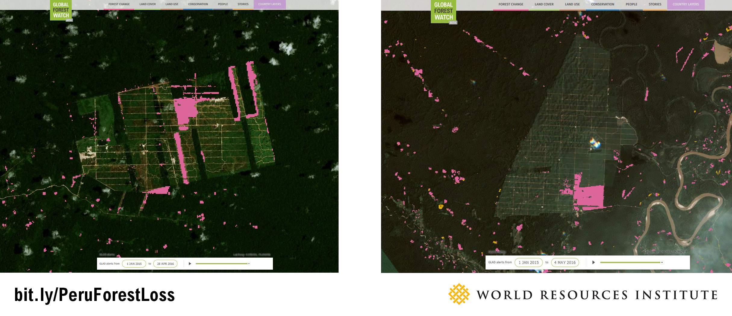 <p>High resolution imagery from Urthecast and recent GLAD Alerts show tree cover loss on United Cacao and Plantaciones de Pucallpa land in the months since they were ordered to stop operations and brought to trial.</p>