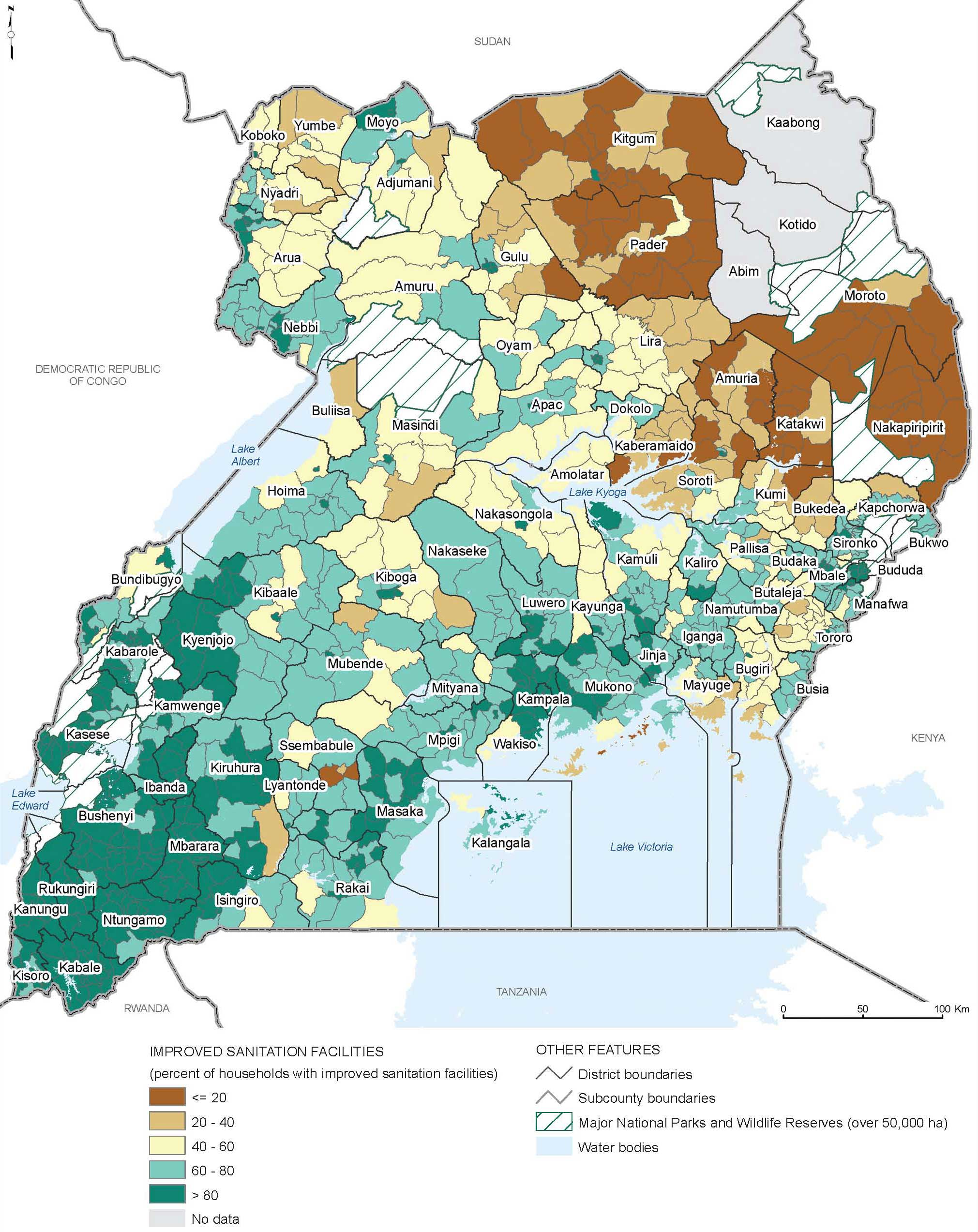 <p>Uganda: Proportion on Households with Improved Sanitation Facilities, 2002</p>
