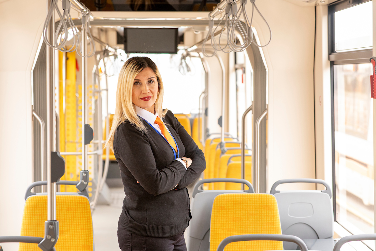 <p>Fatma Korkmaz is a driver for Eskişehir's electric tram. The tram has not only modernized the city's transport, but changed its social fabric. Photo by Kyle LaFerriere</p>