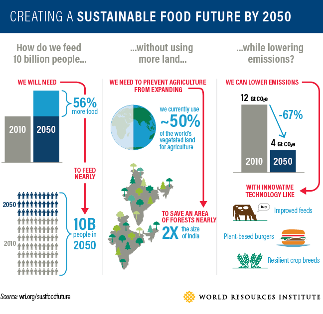 chart: creating a sustainable food future by 2050
