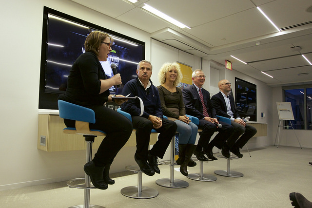 <p>From left to right: Kate Sheppard, Thomas Friedman, Jennifer Morgan, Andrew Steer, Joe Romm. Photo by Bill Dugan/WRI</p>